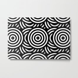 Retro Black White Circles Op Art Metal Print