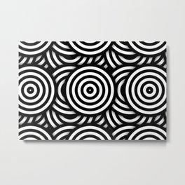 Retro Black White Circles Op Art Metal Print