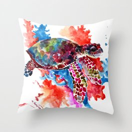Sea Turtle, Coral Reef, Sea world design Red Purple Blue Throw Pillow