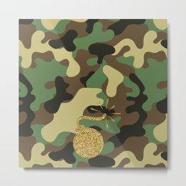 CAMO & GOLD GLITTER BOMB DIGGITY Metal Print