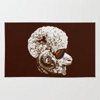 funky Area & Throw Rugs featuring Funky sheep by Bojan Bundalo