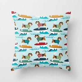Beagle surfing pattern cute pet gifts dog lovers beagles Throw Pillow