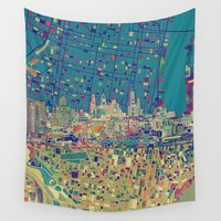philadelphia Wall Tapestries featuring philadelphia city skyline map by Bekim ART