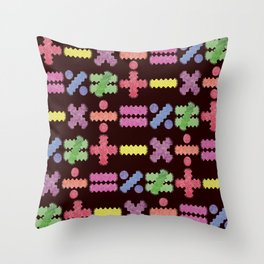 Seamless Colorful Abstract Mathematical Symbols Pattern II Throw Pillow