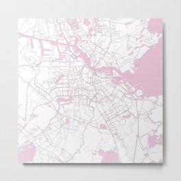 Amsterdam White on Pink Street Map Metal Print