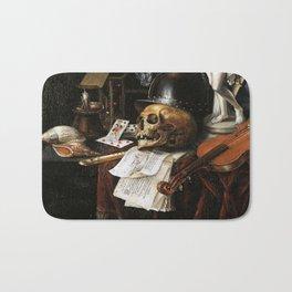 Vintage Vanitas- Still Life with Skull 3 Bath Mat
