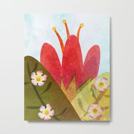 Giant red flower Metal Print