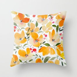 Yellow and Orange Floral Throw Pillow