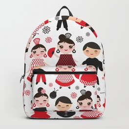 Seamless pattern spanish flamenco dancer. Kawaii cute face with pink cheeks and winking eyes. Backpack