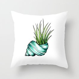 Teal Shell and Plant Throw Pillow