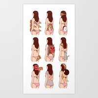 pizza Art Prints featuring Girl & Pizza by Kimiaki Yaegashi