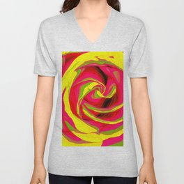 red and yellow rose abstract background Unisex V-Neck