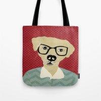 labrador Tote Bags featuring Labrador  by Colorfly Studio