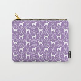 Poodle silhouette floral pattern minimal dog patterns for poodles owners lilac and white Carry-All Pouch