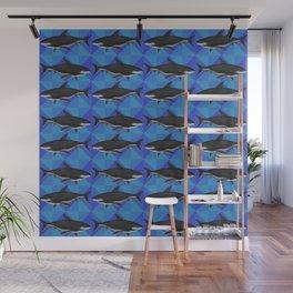 Sharks On Blue Tile Wall Mural