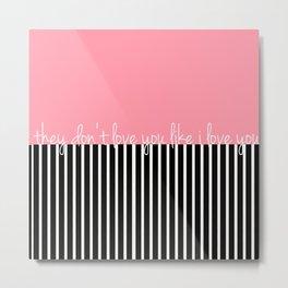 Love You - Pink Metal Print