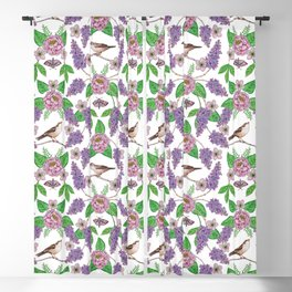 Lilacs, Peonies, Hellebore, & Sparrows - Pink & Purple Flowers w/ Birds & Moths Blackout Curtain
