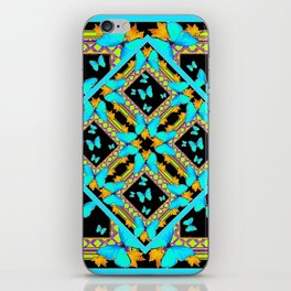 Decorative Western Style Turquoise Butterflies  Black Gold Patterns iPhone Skin