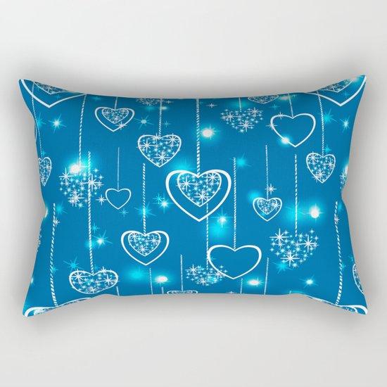 Bright openwork hearts on a light blue background. Rectangular Pillow