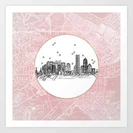 Boston, Massachusetts City Skyline Illustration Drawing Art Print