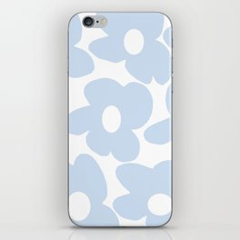 Large Baby Blue Retro Flowers White Background #decor #society6 #buyart iPhone Skin