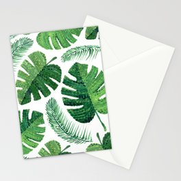 Monstera leaves and palm leaves Stationery Cards