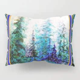 WESTERN  BLUE FOREST WATER COLOR TEAL PATTERN ART Pillow Sham