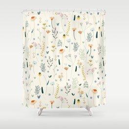 Vintage Inspired Wildflower Print Shower Curtain