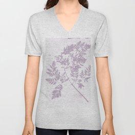 Farmhouse botanical lilac floral handmade print 11 Unisex V-Neck