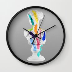 A Grecian Bust With Color Tests Wall Clock