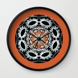 Dawn of Time Dreamtime Aboriginal Oil Mandala in Deep Coral Wall Clock