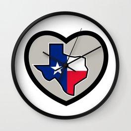 Texas Flag Map Inside Heart Icon Wall Clock