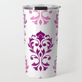Heart Damask Art I Pinks Plums White Travel Mug