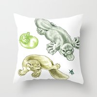 platypus Throw Pillows featuring Platypus by Mayra Boyle