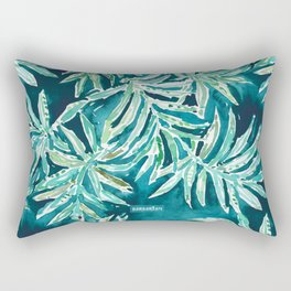SANTA CRUZIN' Navy Tropical Palm Leaves Rectangular Pillow