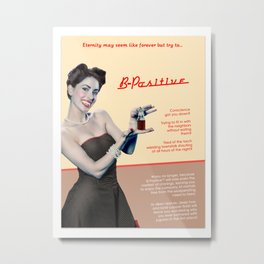 """""""B-Positive"""" - The Playful Pinup - Vampire Parody Pinup Girl Ad by Maxwell H. Johnson Metal Print"""