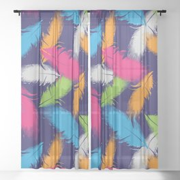 Bright Falling Feathers Sheer Curtain
