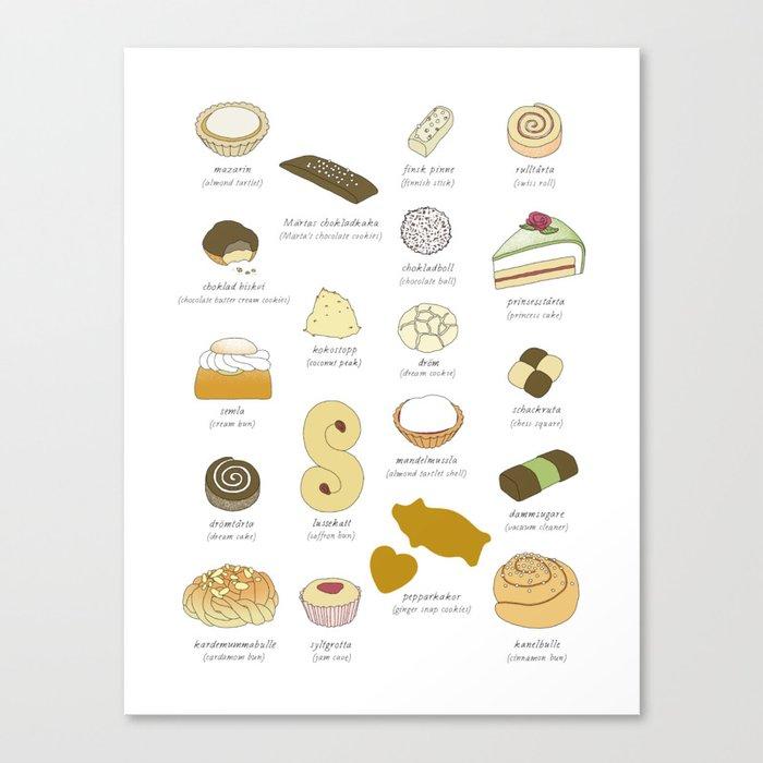 Swedish Cakes & Cookies Canvas Print