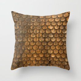 Weathered wall of wooden shingles Throw Pillow