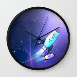 Light String Rocket Wall Clock