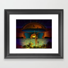 Hanging on is often tricky when the sky descends too quickly Framed Art Print