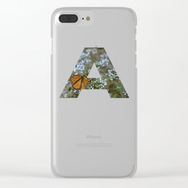 """""""A"""" Initial Butterfly Clear iPhone Case"""