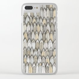 sketchy feather pattern in pale colors Clear iPhone Case