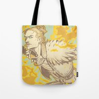dragon age Tote Bags featuring Dragon Age: Justice by Sara Cuervo