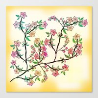 cherry blossoms Canvas Prints featuring Cherry Blossoms by famenxt