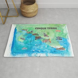 Cinque 5 Terre Italy Favorite Travel Map with touristic Top Ten Highlights Rug