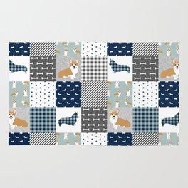 Corgi Patchwork Print - navy, dog, buffalo plaid, plaid, mens corgi dog Rug