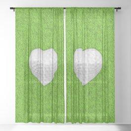 Golf ball heart / 3D render of heart shaped golf ball Sheer Curtain