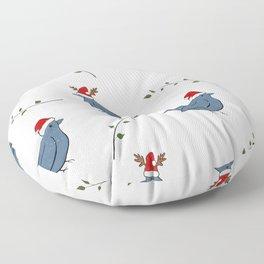 Christmas Santa birds pattern white Floor Pillow