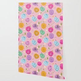 Decorative Colorful Abstract Flower Pattern Wallpaper